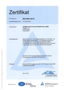 ISO_9001-2015-Zertifikat - Kramer Edelstahlverarbeitung GmbH aus Lindlar | NRW