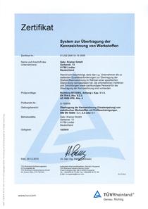 Kramer Edelstahl, Edelstahlverarbeitung, Industrie, Zerspanungstechnik, Fräsen, Drehen, Zertifikat, Dokument, Download